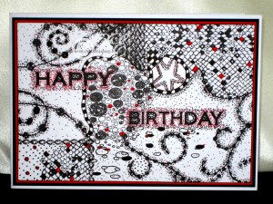 This One Is For Wee Stuarts Birthday It A Mixture Of Stamping And Zentangle I Added Touch Red Too