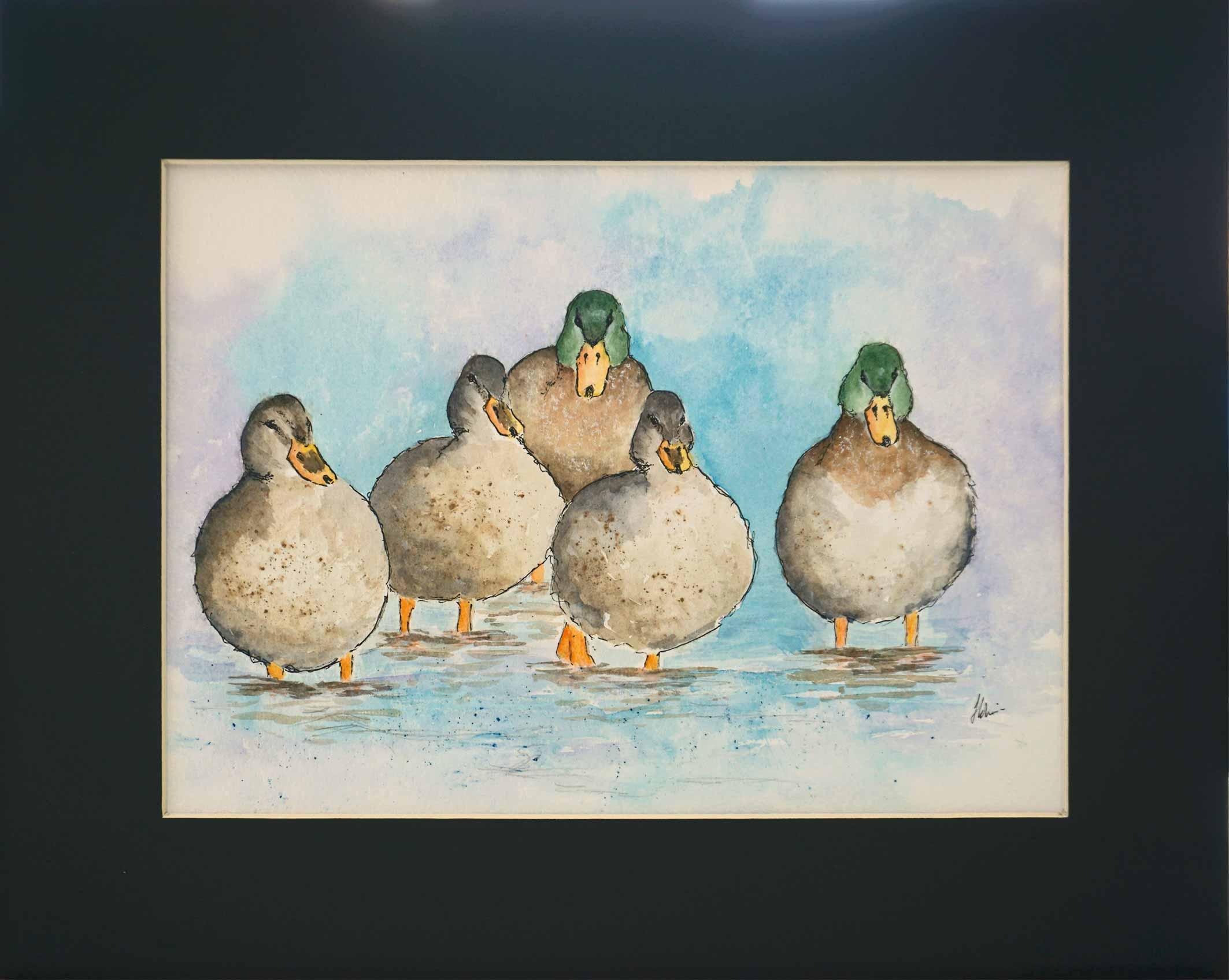 watercolour of five ducks