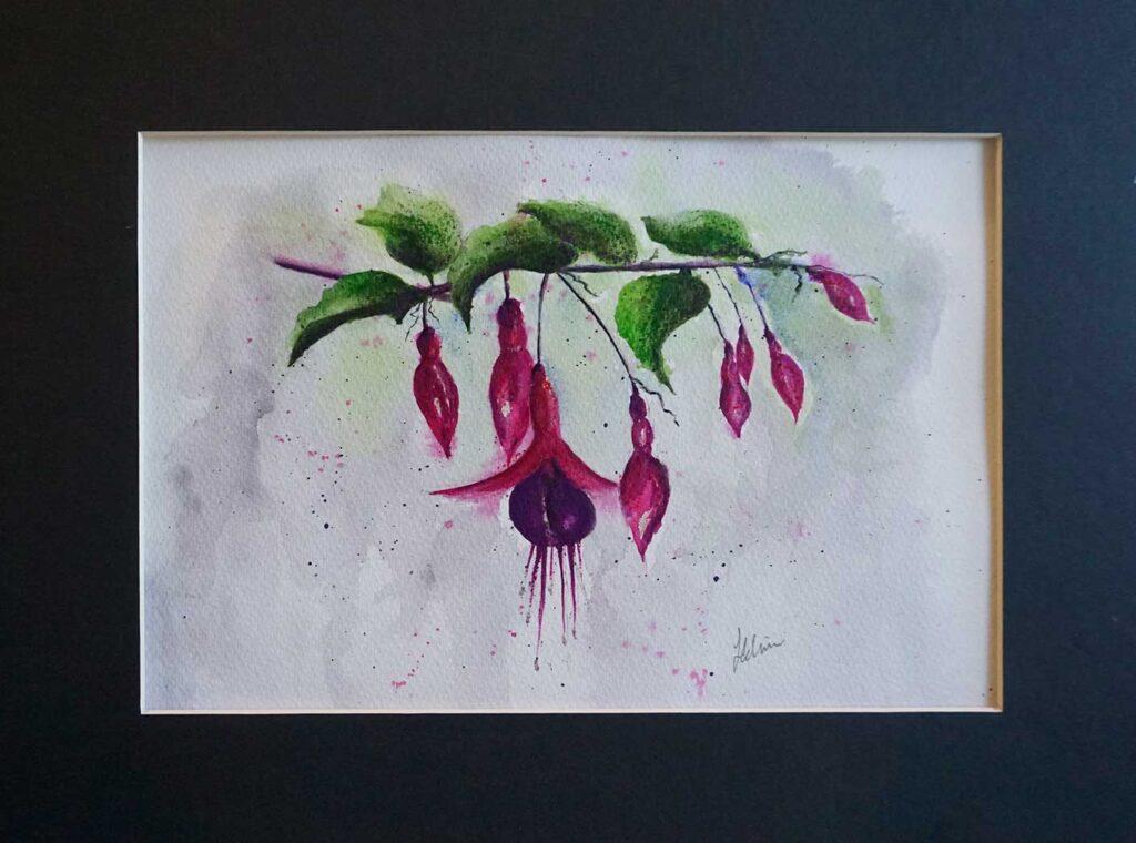 fuchsia painting in mixed media