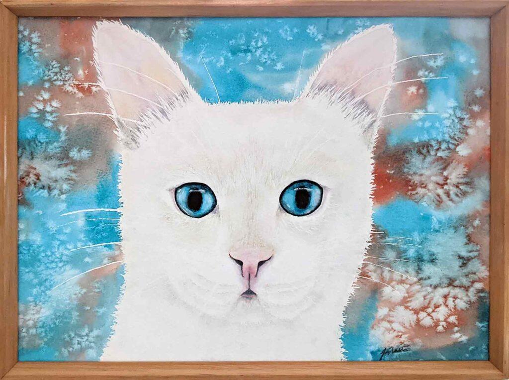 white cat painting