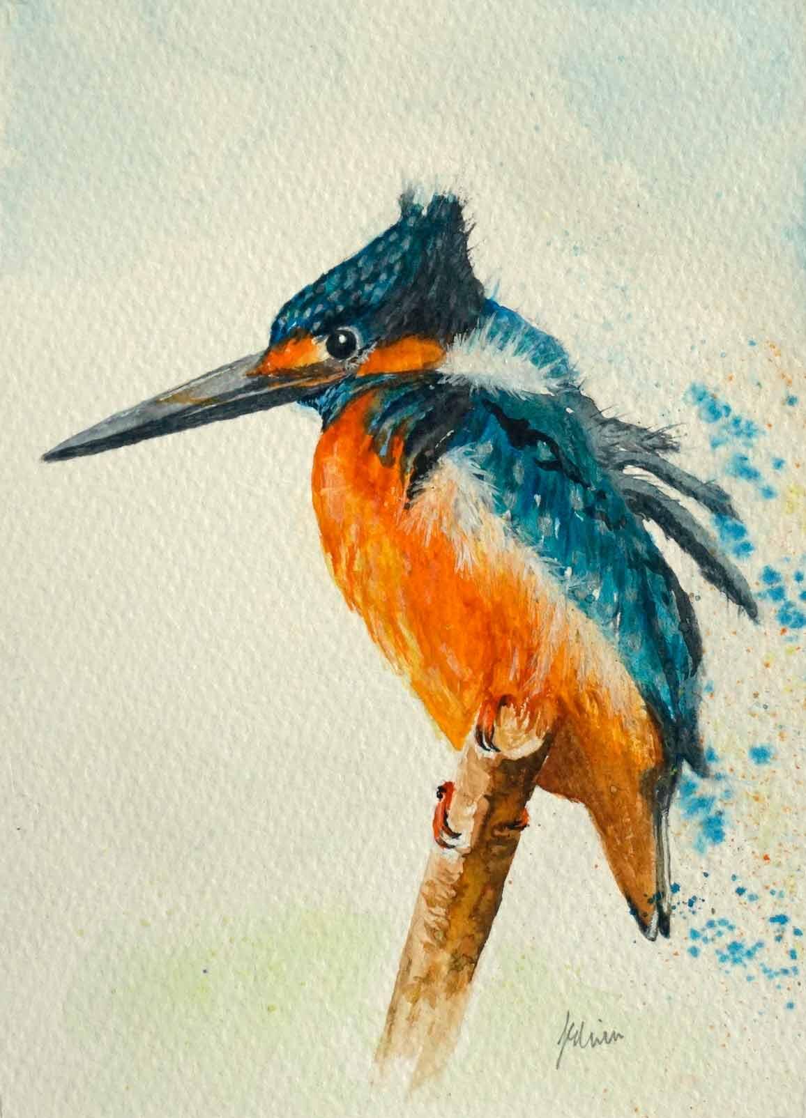 mixed media kingfisher